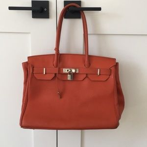 Handbags - Orange leather tote